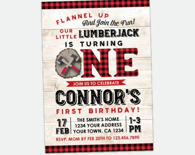 Lumberjack First Birthday Invitation, Flannel Invitation First Birthday, Woodland Invitation, Personalized Digital Invite