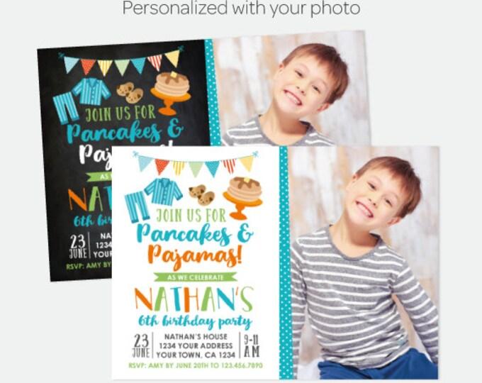 Pancakes and Pajamas Boy Invitation with Photo, Pajama Party, Slumber Party Invitation, Personalized Digital Invitation, 2 options