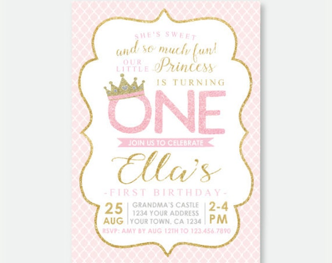 Princess 1st Birthday Invitation, Royal Birthday Party, Princess Party, Crown Invitation, Pink and Gold Personalized Digital Invitation
