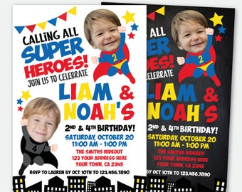 Superhero Siblings Invitation with photo, Superheroes Invitation, Joint Birthday Superhero Invite, Personalized Digital Invitation