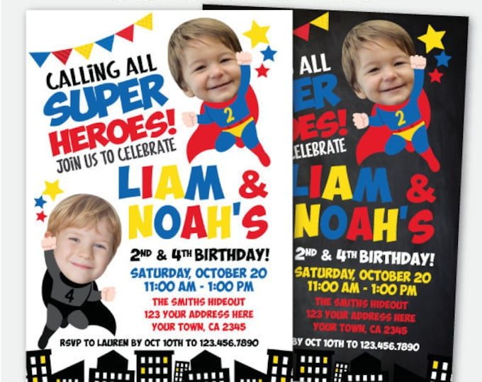 Superhero Siblings Invitation with photo, Superheroes Invitation, Joint Birthday Superhero Invite, Personalized Digital Invitation