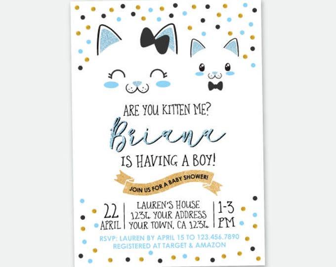 Cat Baby Shower invitation, Boys Baby Shower, Cat Invitation, Personalized Digital Invitation