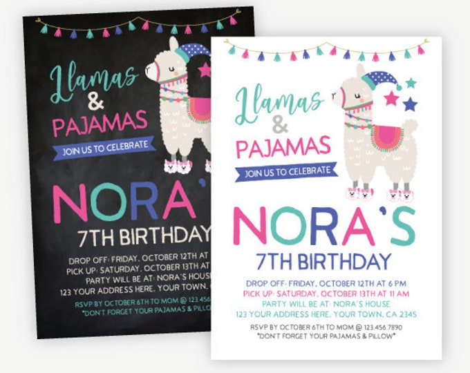 Llama Pajama Party Birthday Invitation, Slumber Party, Sleepover Invitation, Personalized DIGITAL Invitation, 2 Options