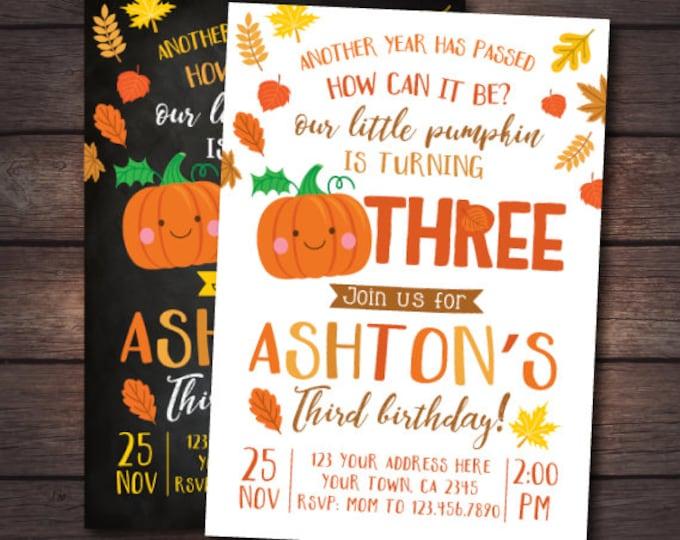 Little Pumpkin Third Birthday Invitation, Pumpkin Invitation, Autumn Birthday Party, DIGITAL personalized invites, 2 Options
