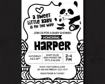 Panda Baby Shower, Panda Baby Shower Invitation, Gender neutral Baby Shower Invitations, Black and white baby shower, Printable Invitation