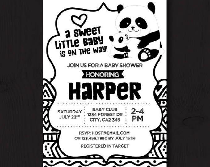 Panda Baby Shower, Panda Baby Shower Invitation, Gender neutral Baby Shower Invitations, Black and white baby shower, Printable Invitation