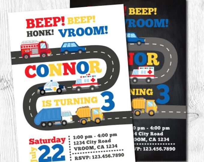 Transportation Birthday Invitation, Firetruck Invitation, Police Invitation, Truck Invitations, City Birthday Party, DIGITAL, 2 Options