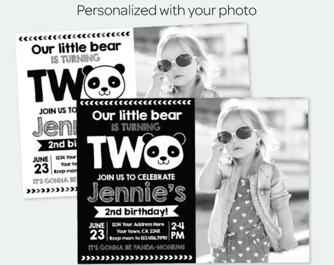 Panda 2nd Birthday Invitation with Photo, Panda Birthday party, Girls or Boys, Black white Party, Personalized Digital Invitation, 2 Options