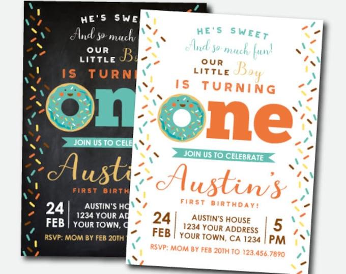 Donut Invitation First Birthday, Donut Birthday Invitation, Boys Birthday Invitation, Sprinkles Invite, Personalized Invitation, 2 options