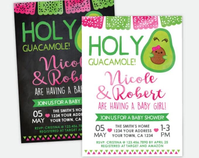 Holy Guacamole Baby Shower Invitation, Fiesta Girl Baby Shower, Cinco de Mayo Invitation, Personalized Digital Invitation