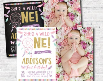 Wild one girl birthday Invitation with picture, Dreamcatcher First Birthday Invitation, DIGITAL Personalized Invite, 2 options
