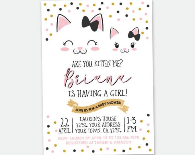 Kitty Baby Shower invitation, Kitty Cat Shower, Cat Invitation, Girls Baby Shower, Personalized Digital Invitation