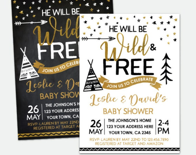Wild and Free Baby Shower Invitation, Teepee Baby Shower, Boys or Girls Shower, Personalized DIGITAL Invitation, 2 Options