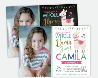 Llama Birthday Invitation with photo, Animals Birthday Party, Personalized DIGITAL Invitation, 2 Options