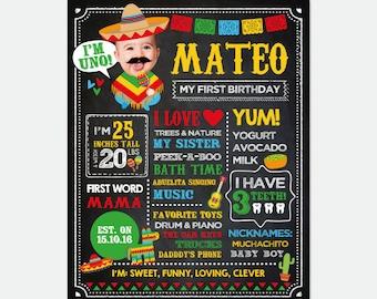 Fiesta First Birthday Chalkboard Sign with Photo, Fiesta 1st Birthday, Mexican Birthday Party, Cinco de Mayo, Personalized Digital Board