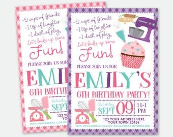 Cupcake Invitations, Cooking Party Invite, Baking Invitation, Girls Invitation, Personalized Digital Invitations, You Print