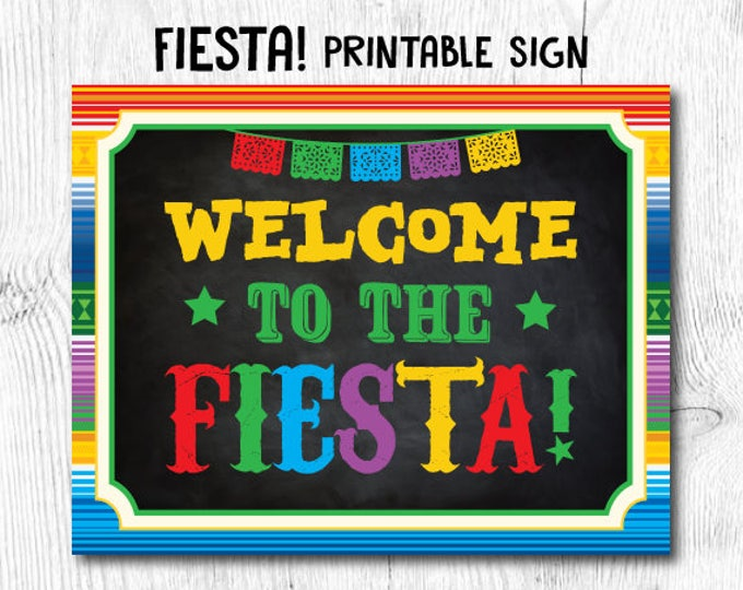 Fiesta Decorations, Fiesta Sign, Fiesta Baby Shower, Fiesta Birthday Decorations, Welcome printable sign, Instant Download