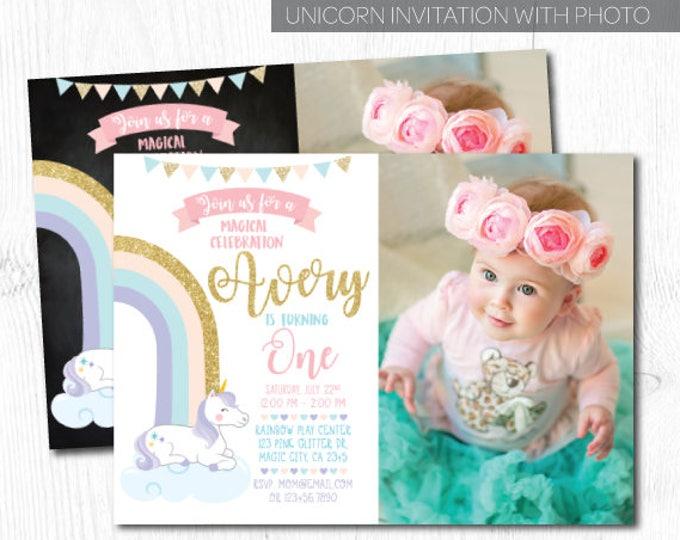 Unicorn Invitation with picture, Unicorn Birthday Invitation, Unicorn 1st birthday Invitation, Rainbow Invitation, Any Age, DIGITAL