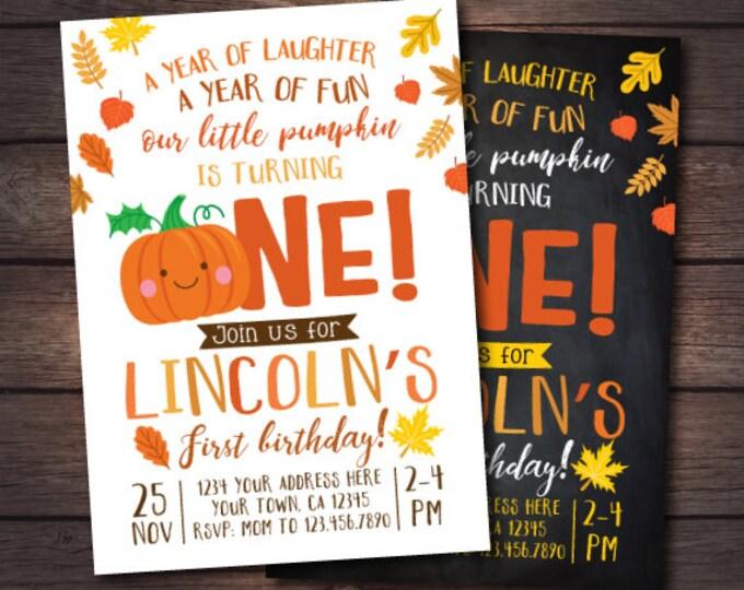 Little Pumpkin First Birthday Invitation, Pumpkin Invitation, Autumn Birthday Party, DIGITAL personalized invites, 2 Options
