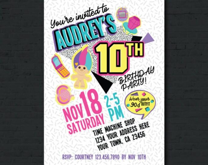 90s Invitation, Retro Birthday Party, Birthday Invitation, DIGITAL, You print!
