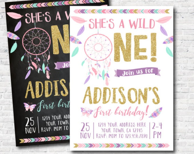Wild one girl birthday Invitation, Dreamcatcher First Birthday Invitation, Boho Invitation, DIGITAL Personalized Invite, 2 options