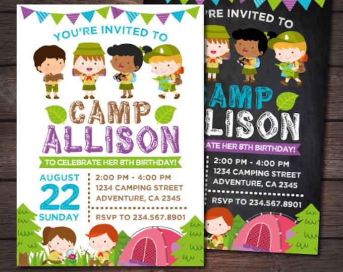 Girl Camping Birthday, Camping Invitation, Camping Birthday Party, Girl Camping Invitation, DIGITAL, 2 Options
