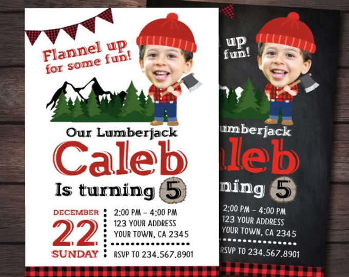 Lumberjack Birthday Invitation with photo, Lumberjack Invitation, Winter Birthday Party, Personalized DIGITAL Invitation, 2 Options