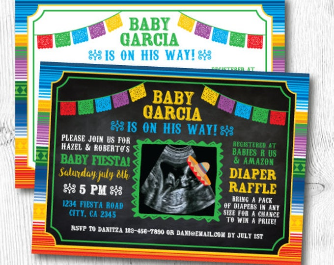 Fiesta Baby Shower Invitations, Mexican Fiesta Baby Shower Invites, Mexican Baby Shower Invitations, Digital, 2 Options