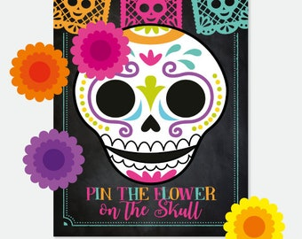 Day of the Dead, Pin the Flower on the Skull Game,  Dia de los Muertos Skull Party Decorations, Mexican Fiesta, Chalkboard, Printable Sign