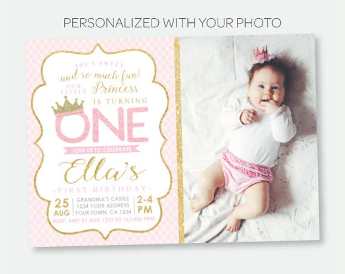 Princess 1st Birthday Invitation with Photo, Royal Birthday Party, Crown Invitation, Pink Gold Personalized Digital Invitation
