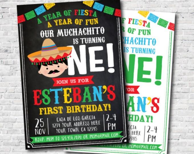 Fiesta First birthday Invitation, Fiesta Invitation, Little Muchacho Invitation, Mexican Birthday Party, Digital, 2 Options