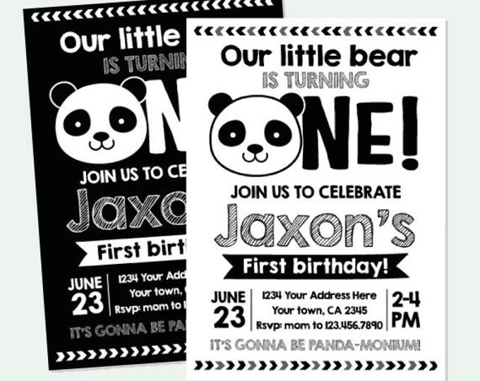 Panda First Birthday Invitation, Panda Birthday party, Black white birthday Party, Personalized Digital Invitation, 2 Options