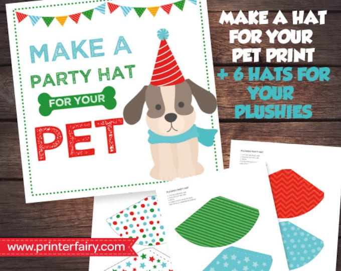 Pet Adoption Party Prints, Make a Hat, Puppy Birthday party, Digital files, Instant download