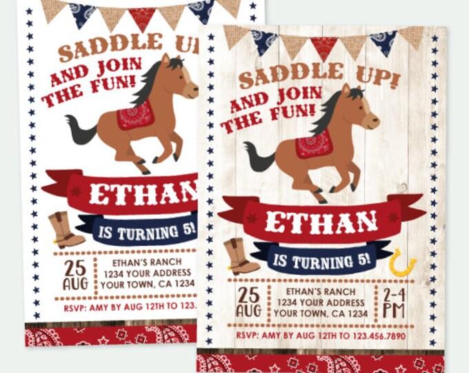 Horse Birthday Invitation, Pony Birthday Invitation, Buckaroo birthday invitation, Cowboy Party, Personalized Digital Invite, 2 options