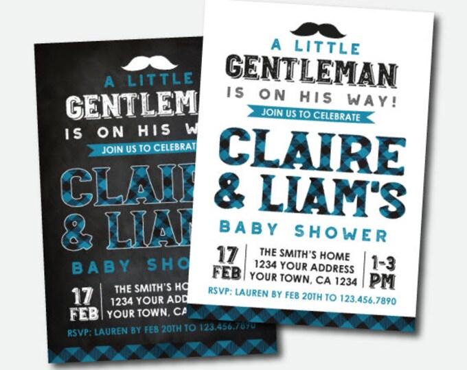 Little Gentleman Baby Shower Invitation, Plaid Shower Invitation, Boy Baby Shower, Personalized Digital Invite