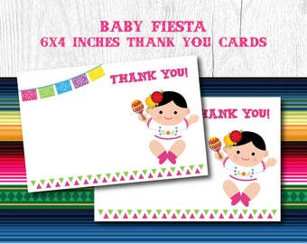 Fiesta Thank You Cards, Fiesta Baby Shower, Mexican Baby Shower, Mexican Fiesta Blank Cards, Printable Cards, Instant Download