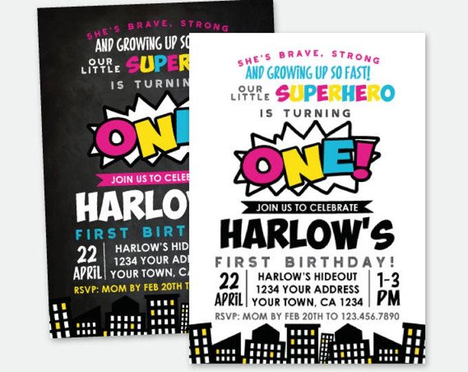 Superhero Girls First Birthday Invitation, ANY AGE, Superheroes Birthday Party, Personalized Digital Invitation, 2 Options