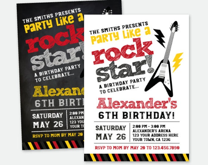 Rock star Birthday Invitation, Music Invitations, Rockstar Birthday Party, Personalized Digital Invitation, 2 options