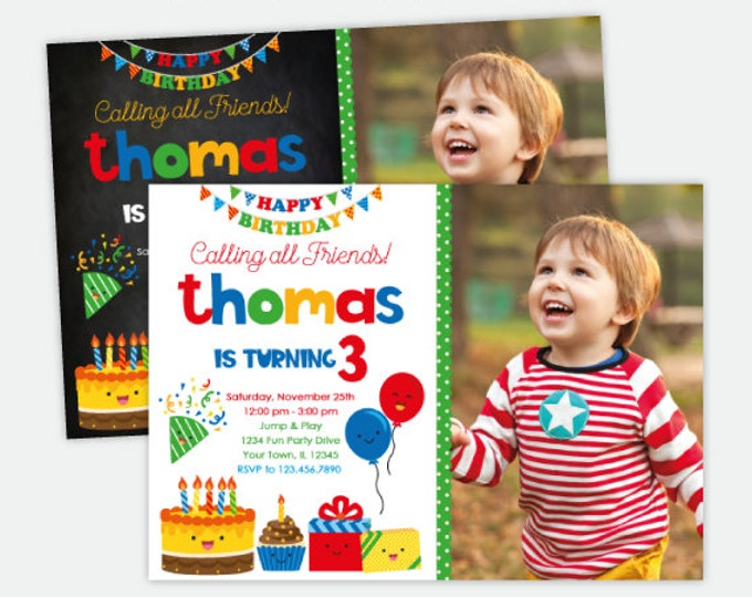 Birthday Party Invitation with photo, Kawaii Birthday Invitation, Cake Invitation, Balloon Invitation, Personalized Digital, 2 Options