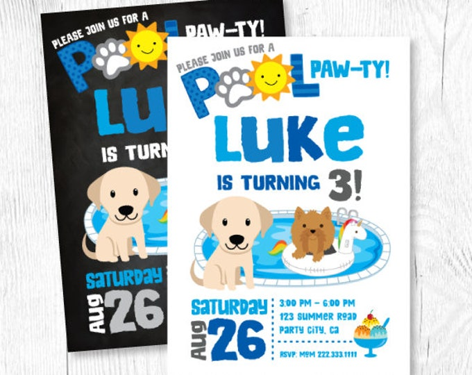 Puppy Invitation, Boy Pool Birthday Party, Puppy Birthday Party, Summer Birthday Invitation, Puppy Party, Pet Birthday, Digital, 2 Options