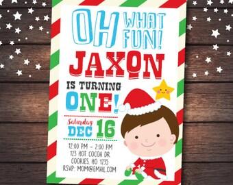 Christmas first birthday Invitation, Little Santa Invitation, Christmas Birthday Invitation, Christmas Invitation, DIGITAL