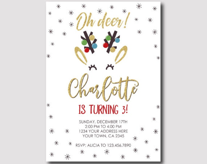 Christmas Deer Birthday Invitation, Holiday Party Invitation, Christmas Party, DIGITAL