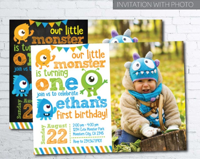 Little Monster Birthday Invitations with photo, Monster Invitations, Little Monster 1st Birthday, DIGITAL Invitation, 2 options