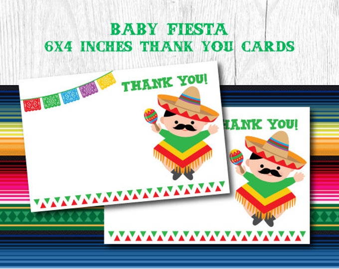Fiesta Baby Shower, Fiesta Thank You Cards, Mexican Baby Shower, Mexican Fiesta Blank Cards, Printable Cards, Instant Download