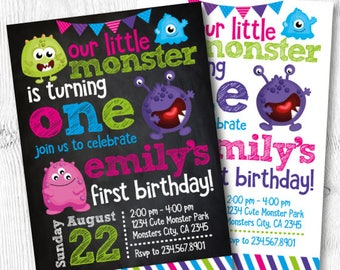 Little Monster Birthday Invitation, Monster Invitations, Monster Birthday Party, Monster 1st Birthday, DIGITAL Invitation, 2 options