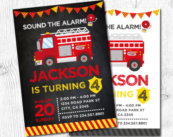 Firefighter Invitation, Fire fighter Birthday Party, Fireman Invitation, Firetruck Birthday Invitation, DIGITAL Personalized, 2 Options