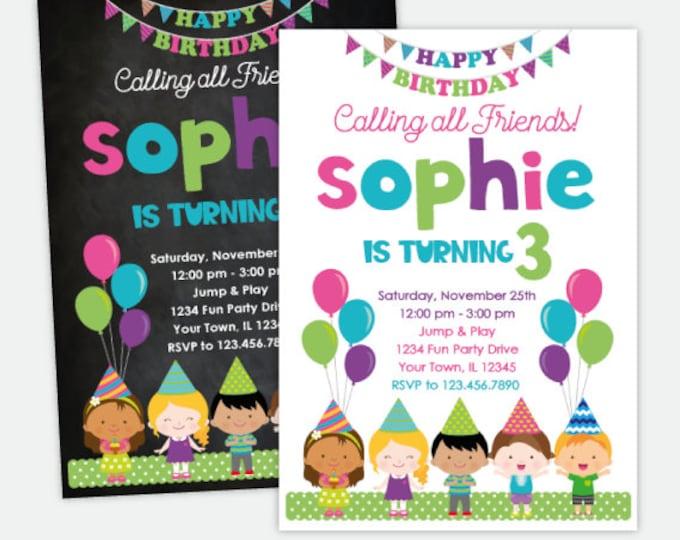 Friends Birthday Invitation, Birthday Party Invitation Girls, Balloon Party Invitations, Kids Invitations, Personalized Digital, 2 Options