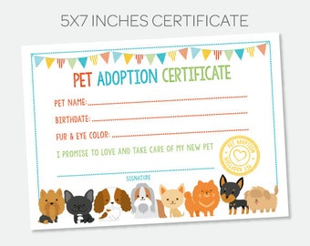 Puppy Adoption Certificate, Pet Adoption Station, Puppy birthday Party, Dog Birthday Party, Digital Instant Download
