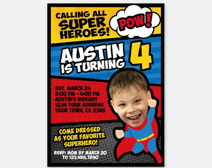 Superhero Boy Invitation with Photo, Superheroes Birthday Party, Superhero Invite, Personalized Digital Invitation