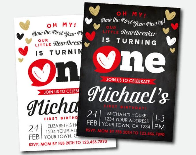 Boy or Girl Valentines Birthday Invitation, Little Heartbreaker First Birthday Invitation, Personalized DIGITAL Invites